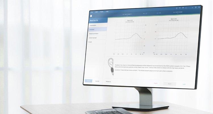 Real Ear Fit에 대한 전문가용 필립스 히어스위트(HearSuite) 스크린샷. 필립스 히어링크(HearLink) 보청기를 위한 피팅 소프트웨어.