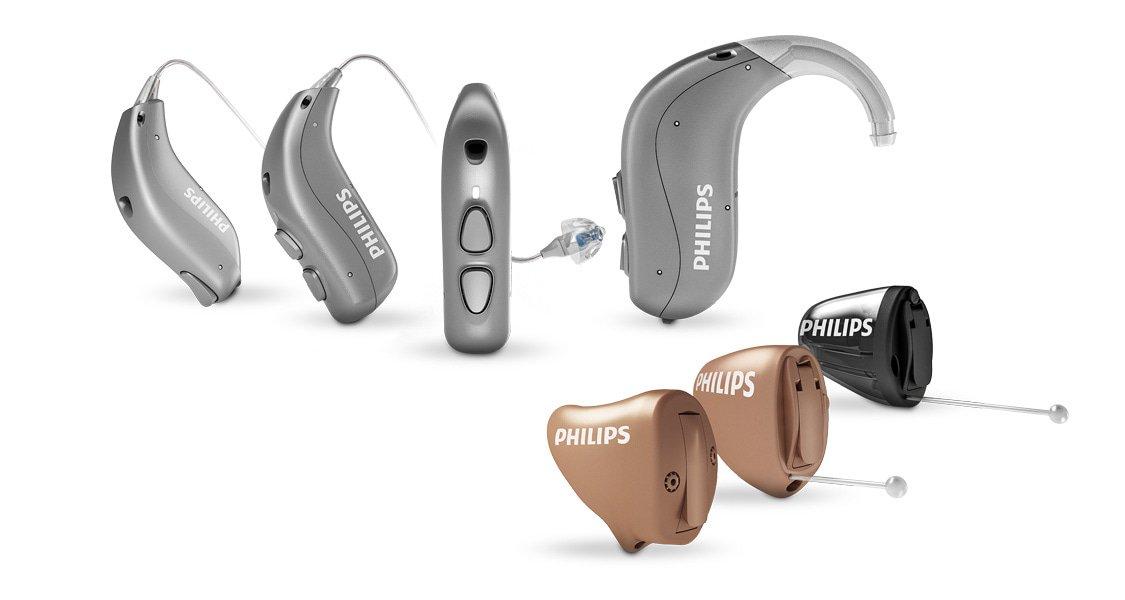 필립스 히어링크(HearLink) 보청기의 주요 내용. 귀걸이형 및 귓속형 보청기.