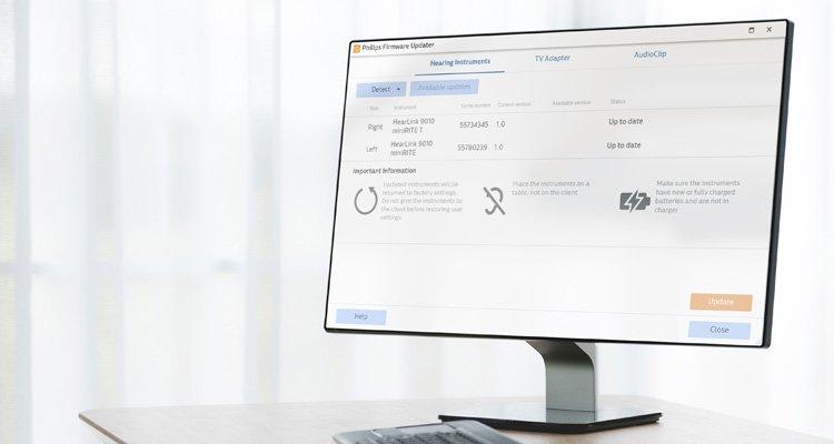 Zrzut ekranu dla profesjonalistów przedstawiający Philips Firmware Updater w Philips HearSuite. Oprogramowanie do dopasowania dla aparatów słuchowych Philips HearLink.