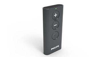 Controlo remoto Philips - Altere discretamente o volume e o programa do aparelho auditivo.