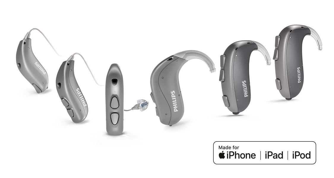 Visão geral de todos os aparelhos auditivos Philips HearLink atrás da orelha com conexão a iPhone.